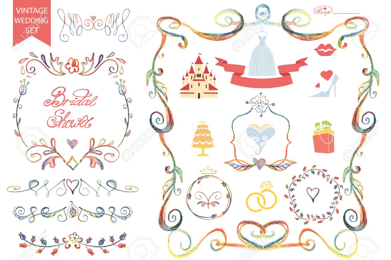 retro wedding design template set with floral decorribbonsicons and swirling border