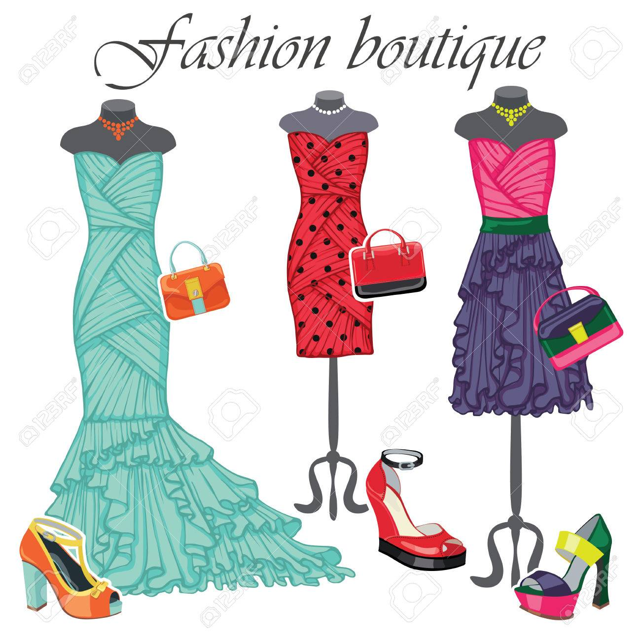 Three Colored Dresses With Accessories.Fashion Illustration Royalty ...