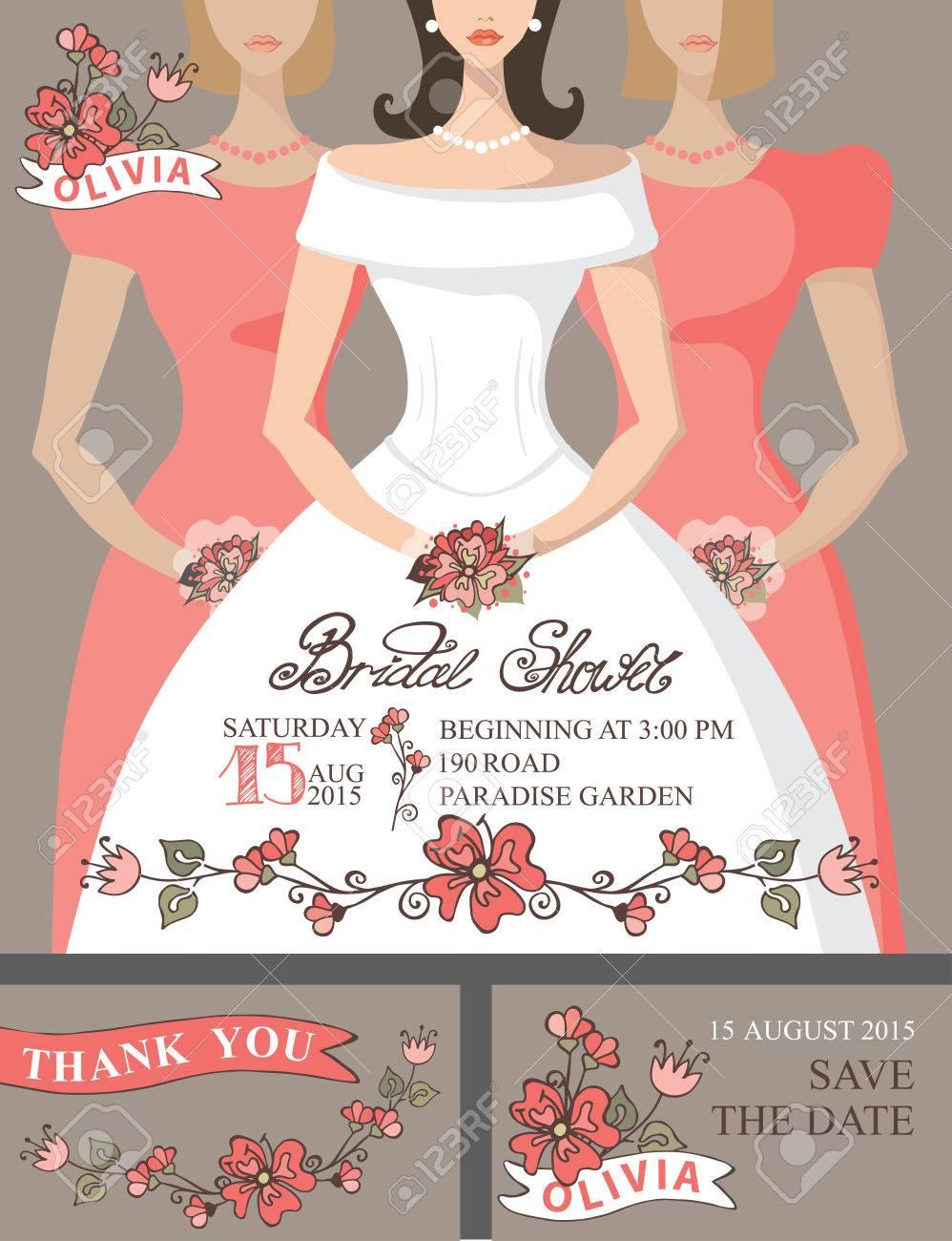 bridal shower invitation setbridebridesmaidscute floral decor stock vector 41512922