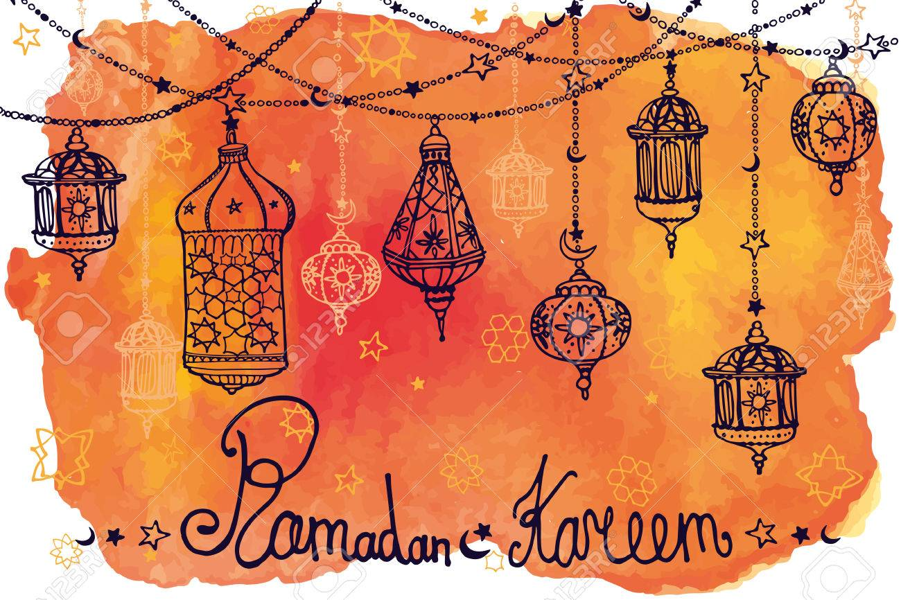 Traditional lantern garland of ramadan kareem odle greeting traditional lantern garland of ramadan kareem odle greeting card with watercolororange splashslim community m4hsunfo