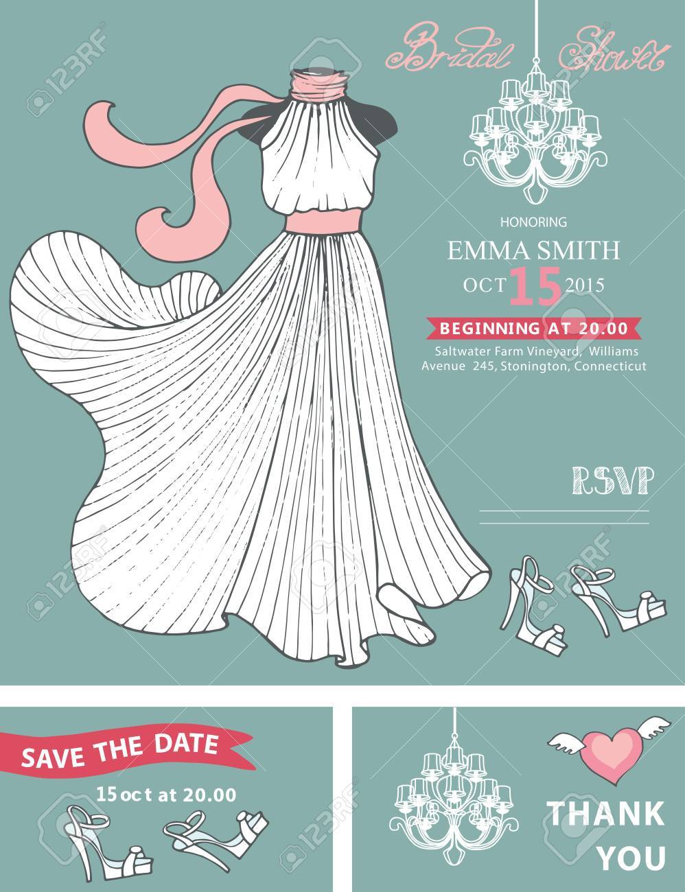 Bridal Shower Template Set.Wedding Dress With Chandelier, Hand ...