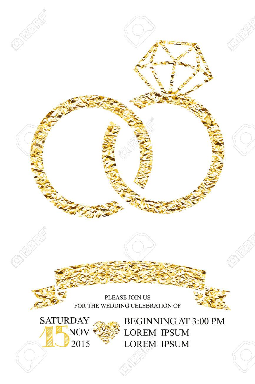 Wedding invitations with gold glitter foil texture ring trendy vector wedding invitations with gold glitter foil texture ring trendy wedding marriage bridal birthday valentines day simple silhouette isolated stopboris Images