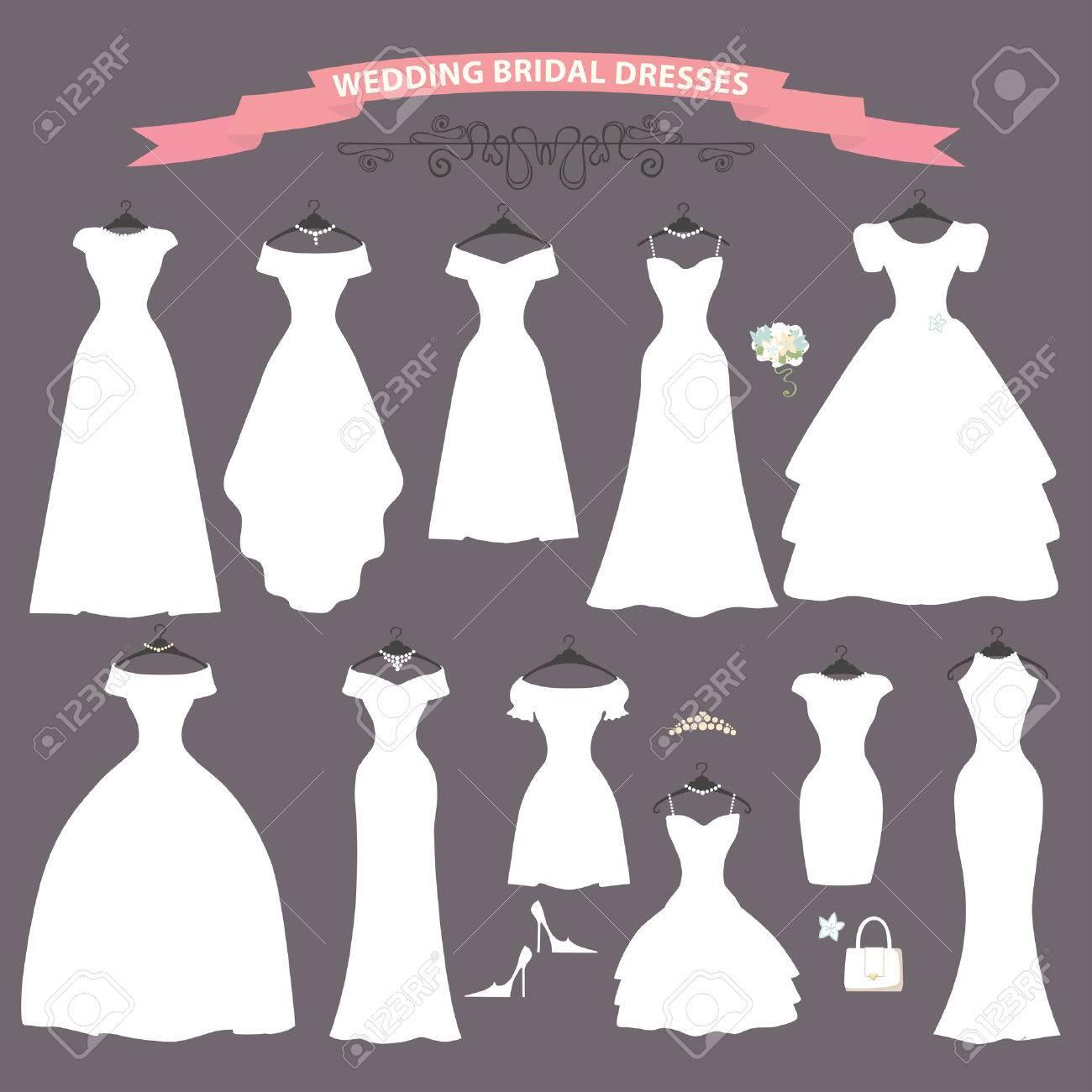 3e8cc31631661 結婚式の組成の異なるスタイルの灰色の背景にハンドバッグとモダンなフラット ベクトル style.Composition、高いヒールの靴で作られたドレス します。