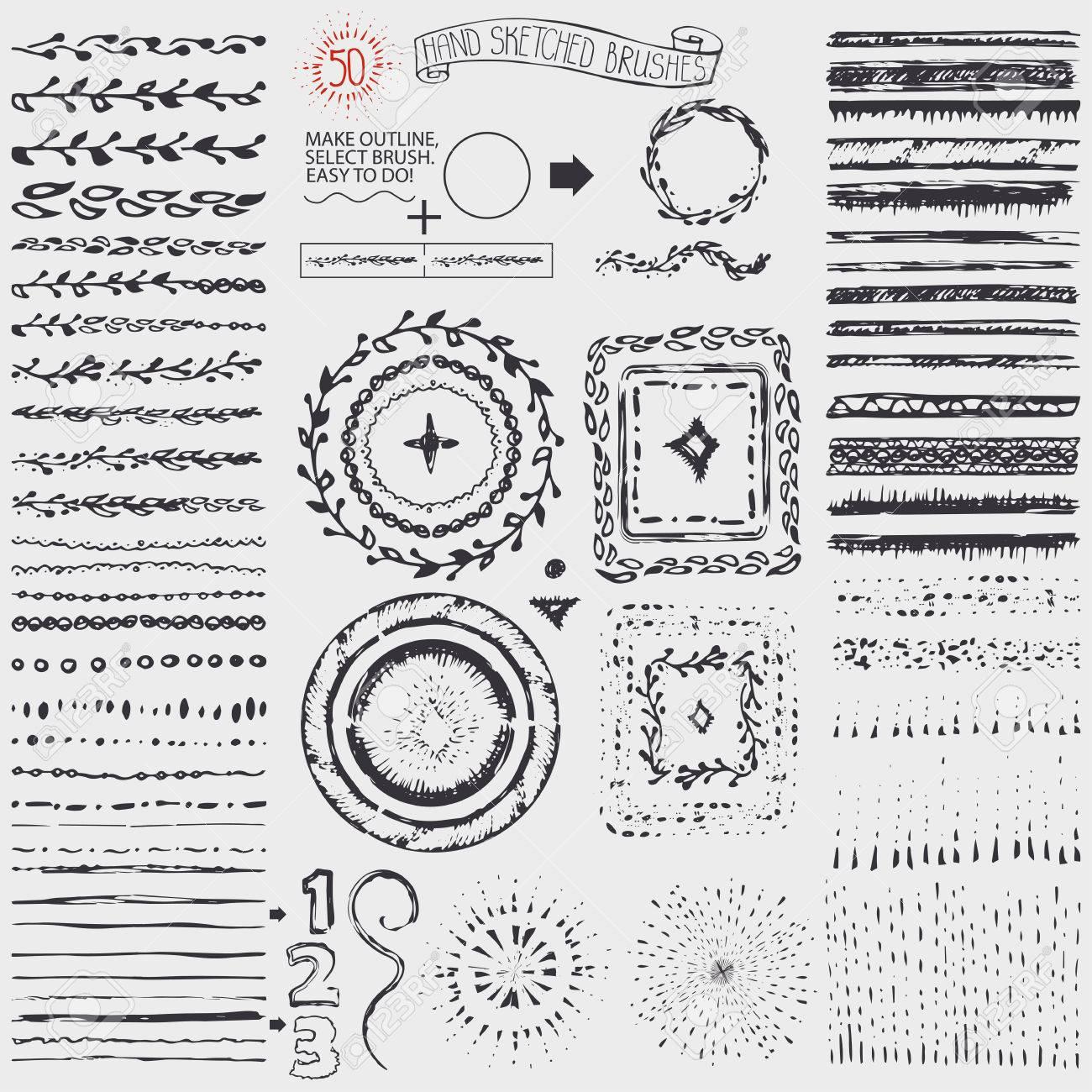 hand gezeichnete muster brsten kranz linie grenze platzen form doodle dekor knstlerischen - Muster Urlaubsantrag