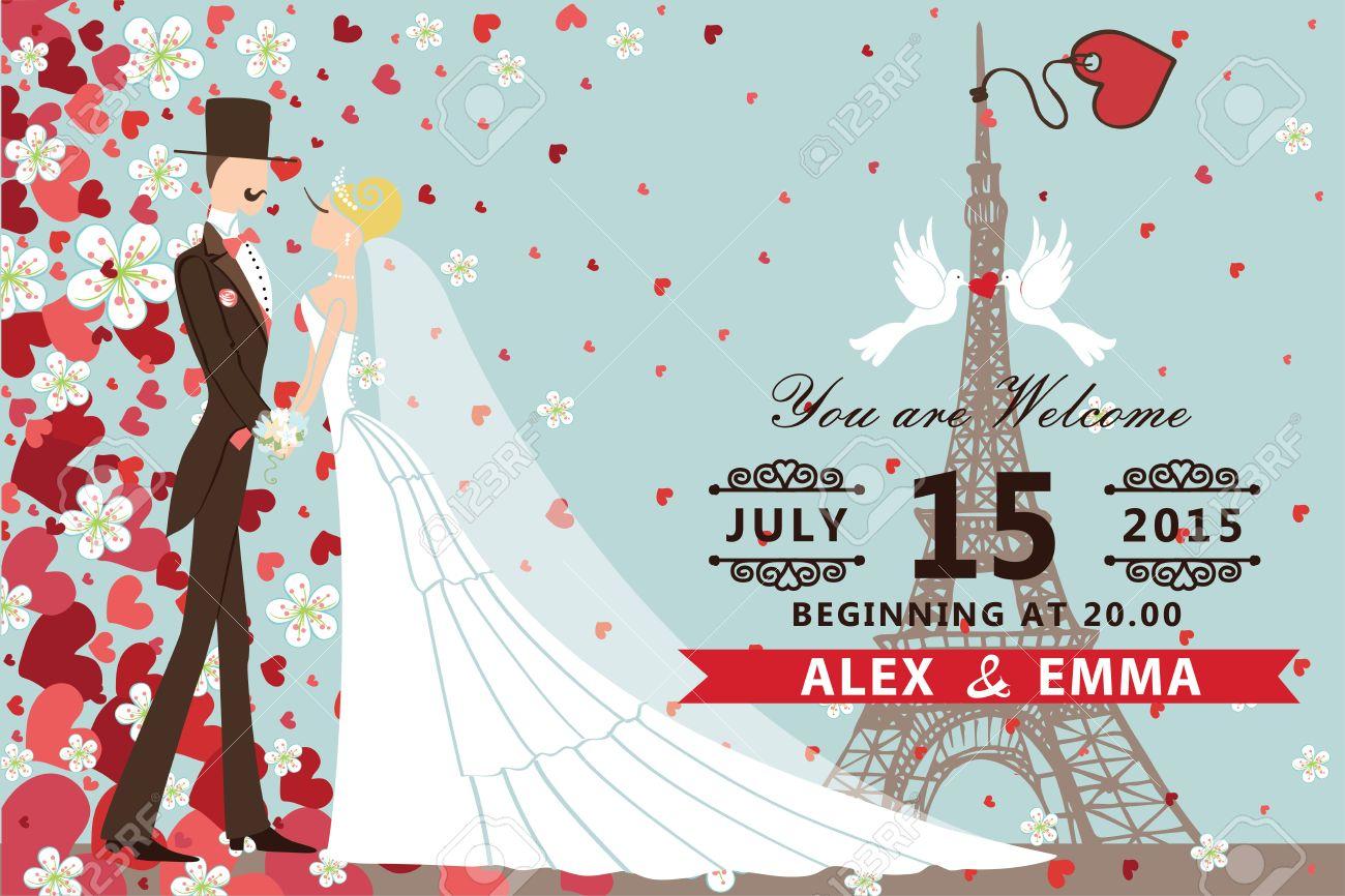 invitacin de boda retro con el novio la novia palomas corazones eiffel tower