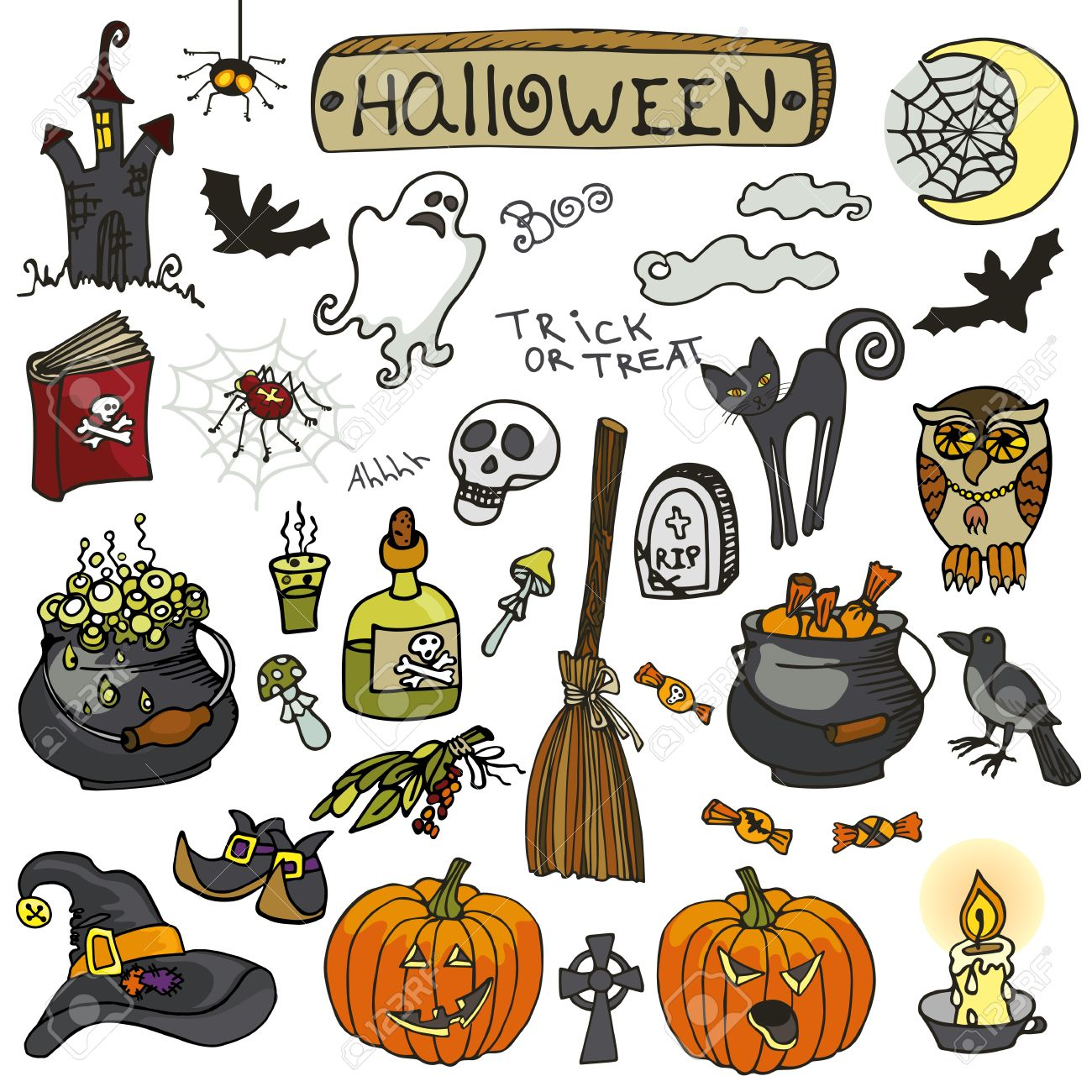 Halloween Party Icons.Doodle Hand Drawing Witch Spooky Elements ...
