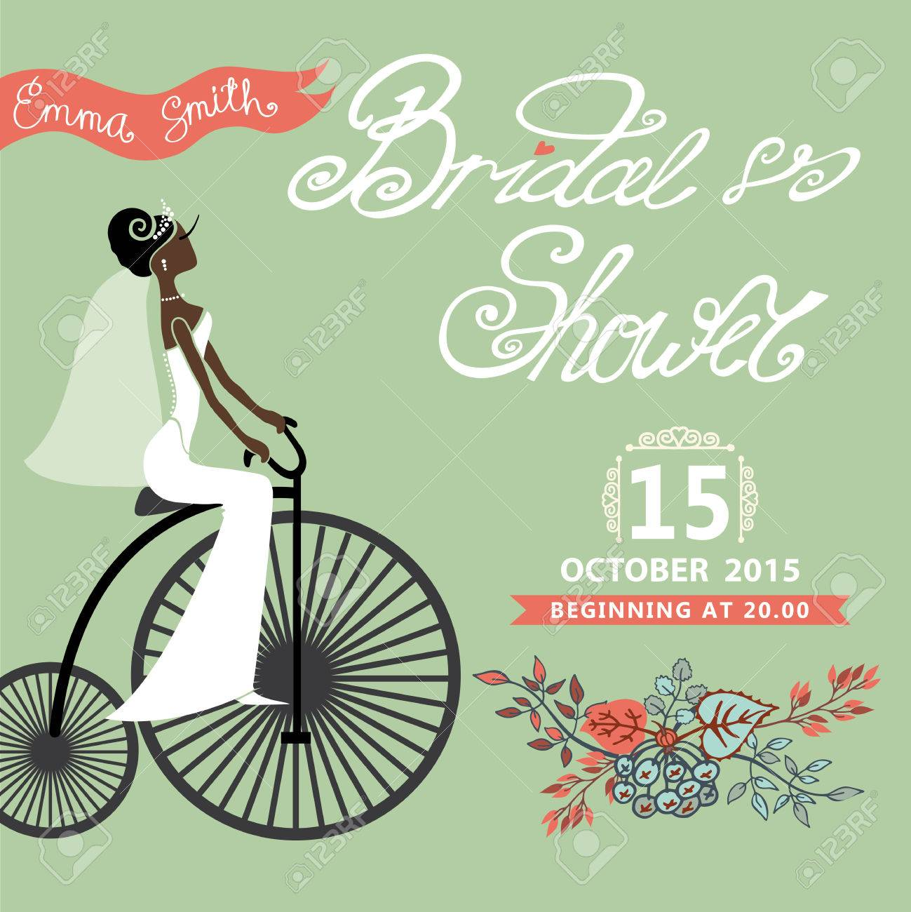 Bridal shower card with mulatto bride on retro bicycle and floral bridal shower card with mulatto bride on retro bicycle and floral garland ntage wedding invitation filmwisefo