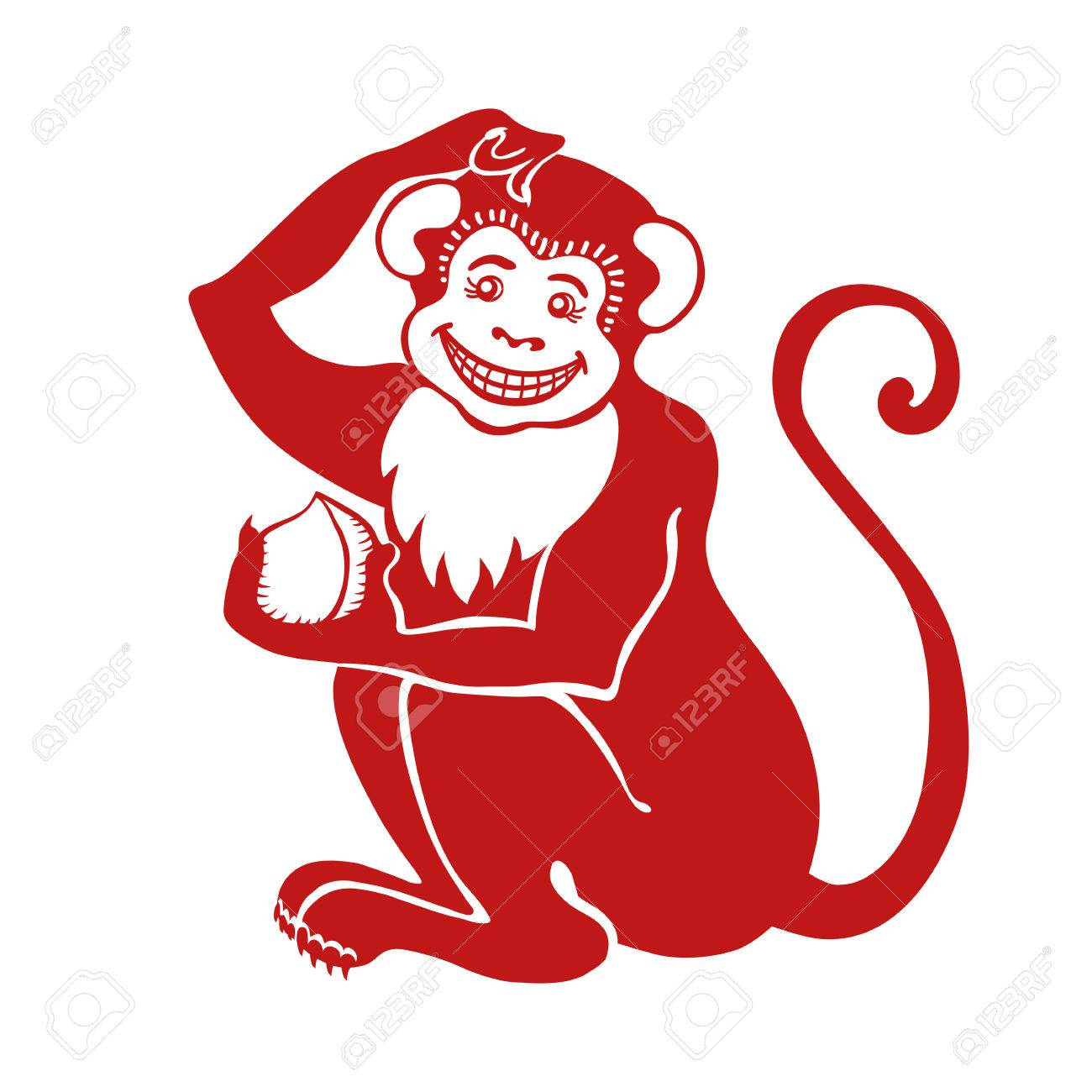 red monkeychinese zodiactranslation symbol of 2016 year signiconisolated