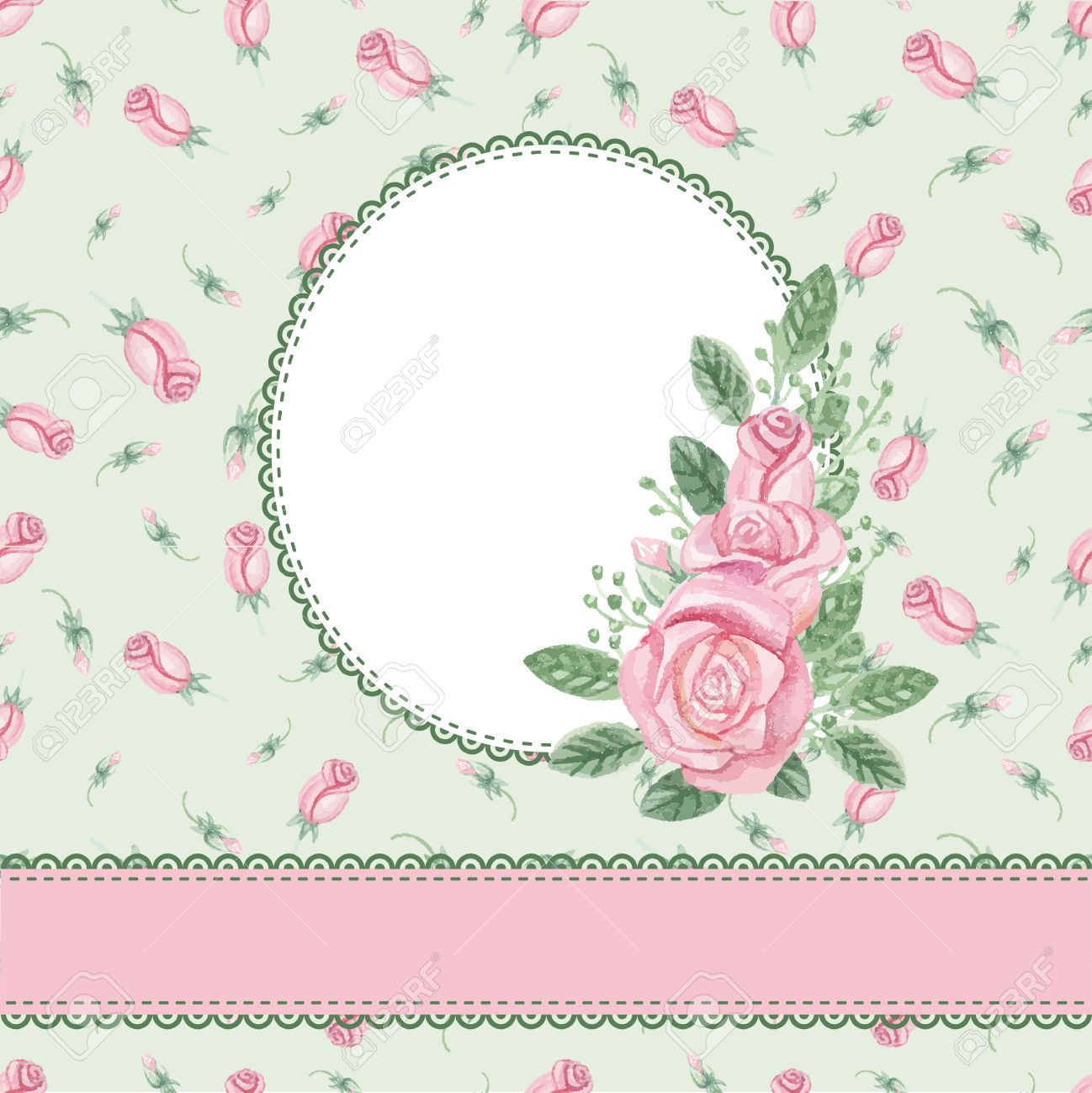 Watercolor Pink Roses Bouquet,label,ribbon,floral Pattern.Hand ...