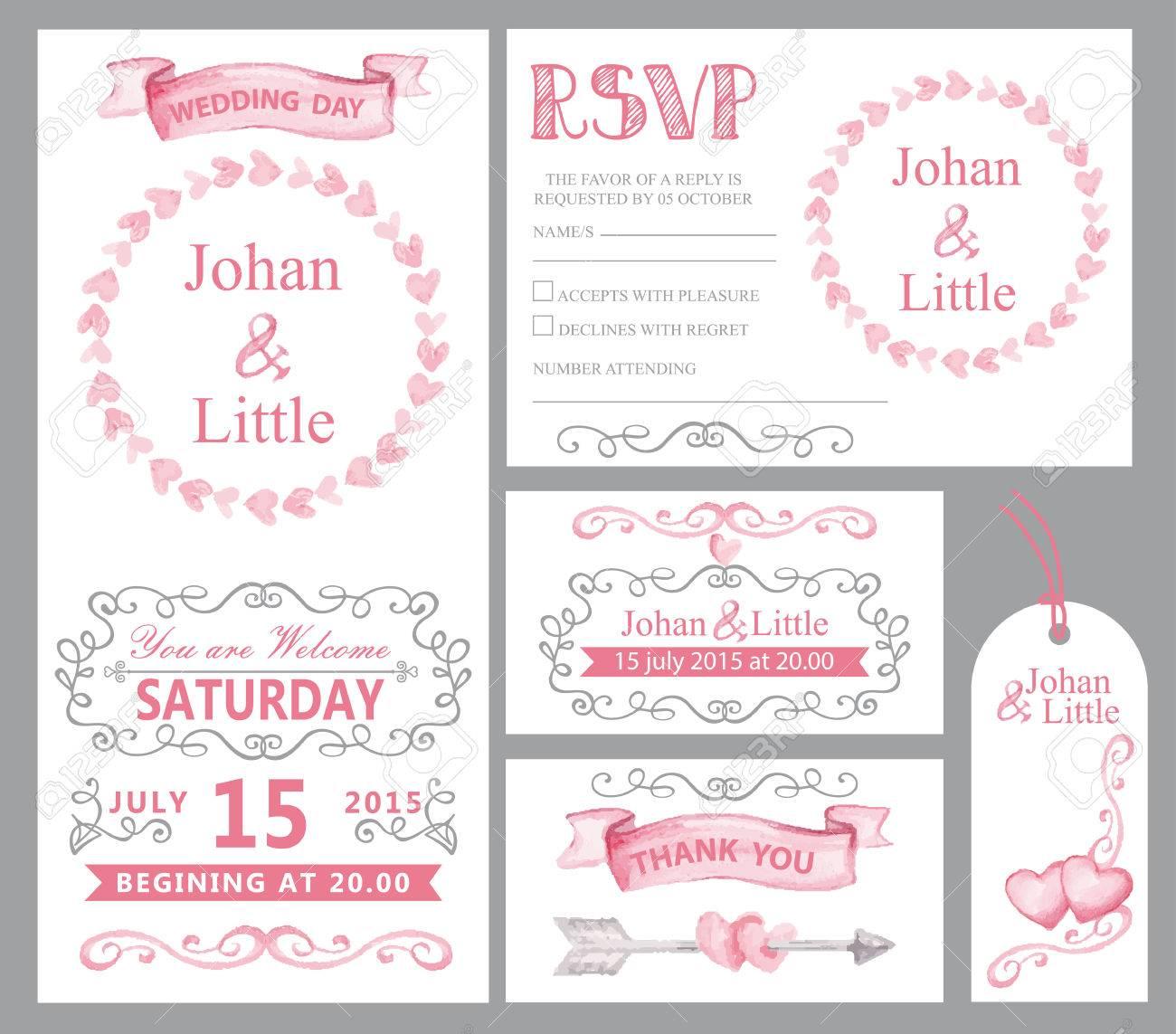 Watercolor Wedding Invitation Card Set.Pink Hearts,ribbons,grey ...