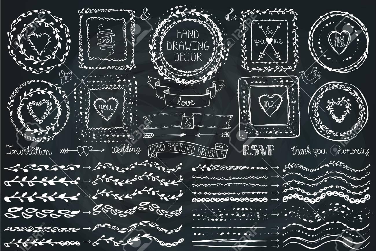 Hand Drawn Brushes,wreath, Line Border,heart ,ribbon Set.ribbon.