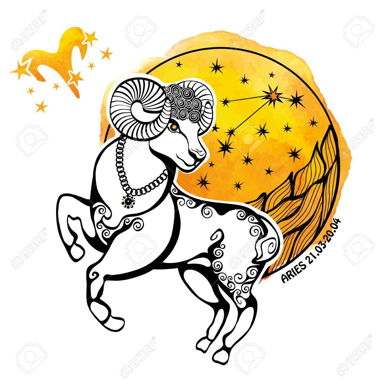 Aries Zodiac Sign Horoscope Constellationstars In Circle