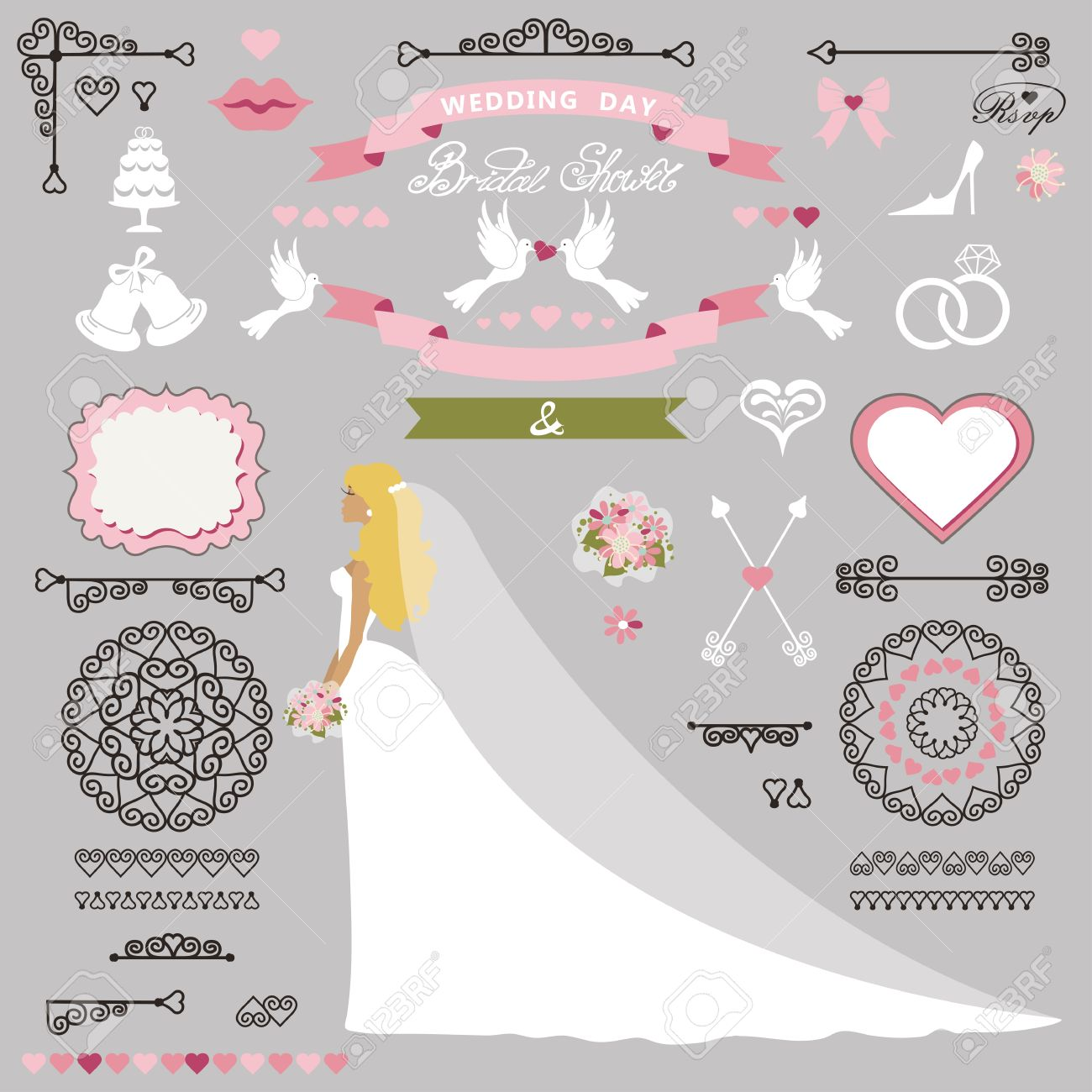 wedding bridal shower invitation card decor setcartoon bride in long dress swirling borders
