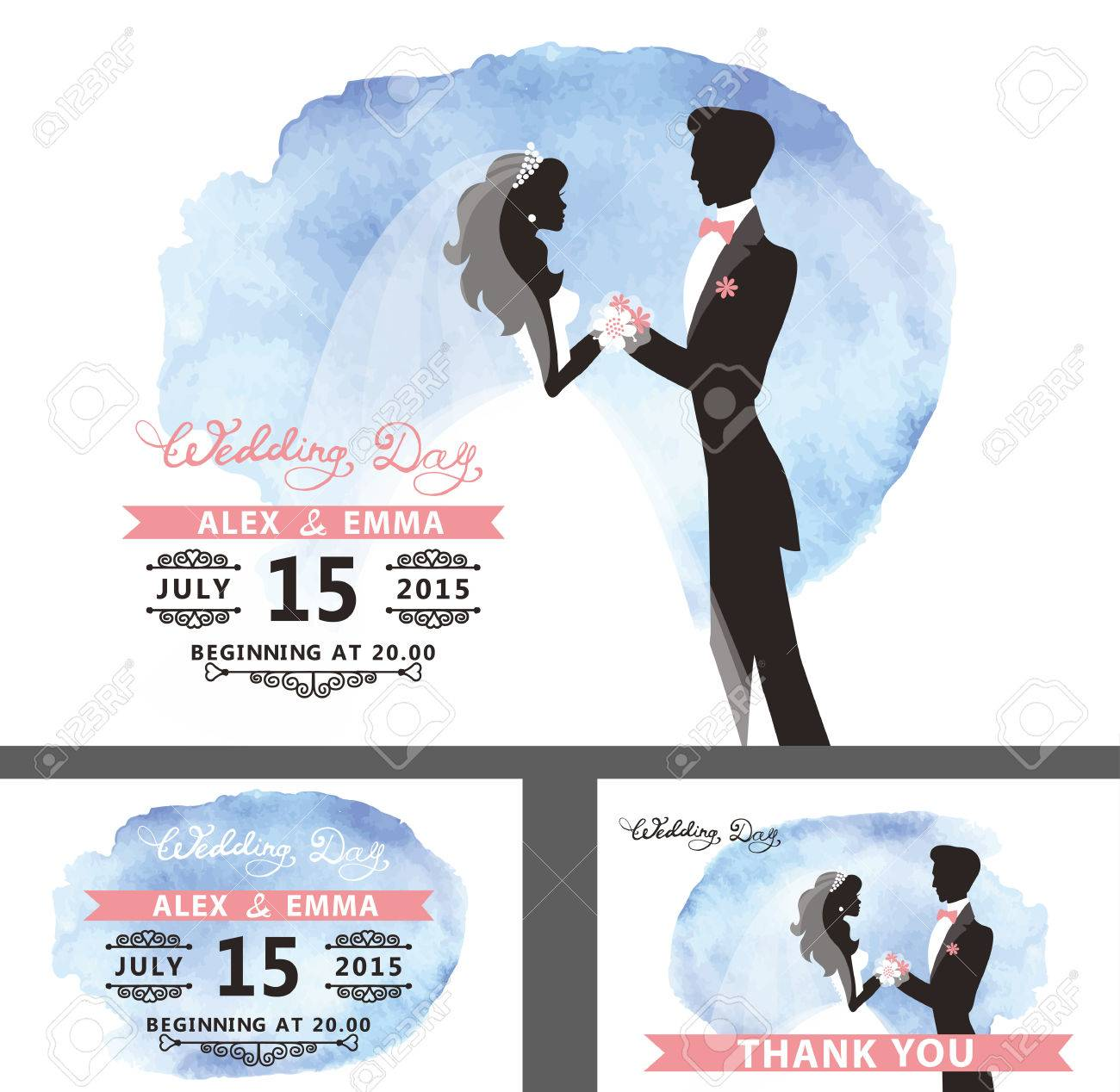 vector wedding bridal shower invitation template set with watercolor cyan stainflat bride and groom portrait silhouettes with hand writing textswirling