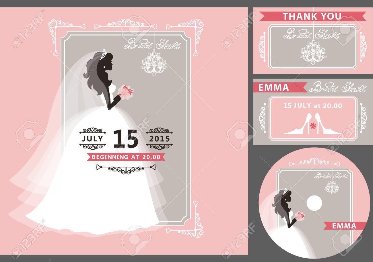 wedding bridal shower invitation template setflat bride silhouette in white dressveil