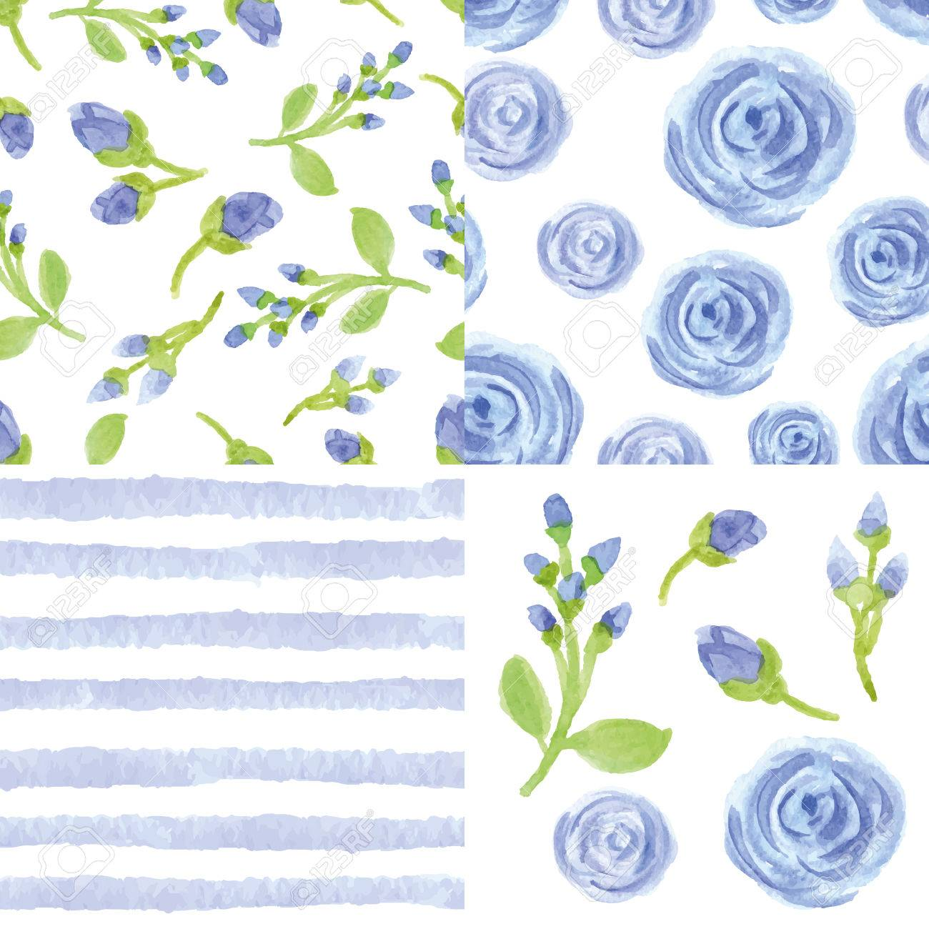Watercolor Artistic Blue Flowers Strips Seamless Pattern Set Simple Royalty Free Cliparts Vectors And Stock Illustration Image 47521072