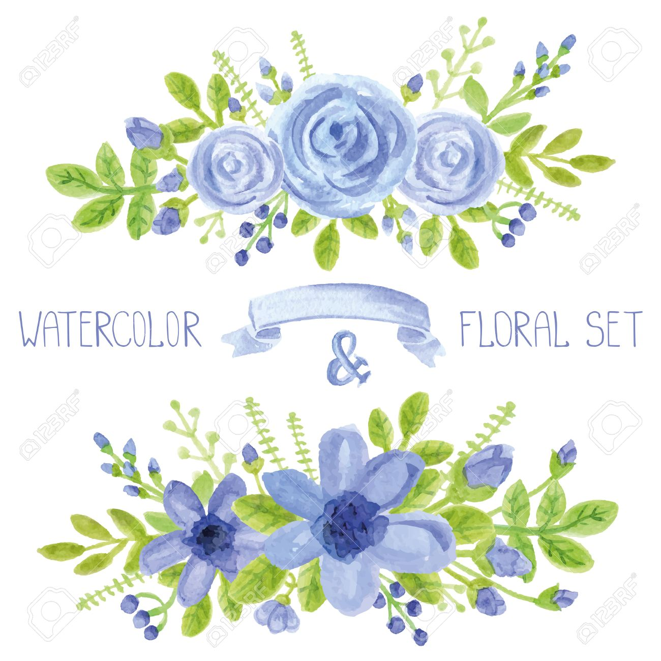 Watercolor Blue Flowers,green Branches,leaves Bouquet Set. Hand ...