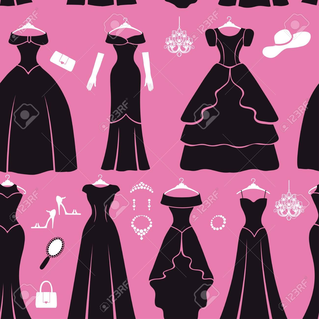 Vestido De Moda Sin Patrón. Diferentes Estilos De Vestido De Fiesta ...