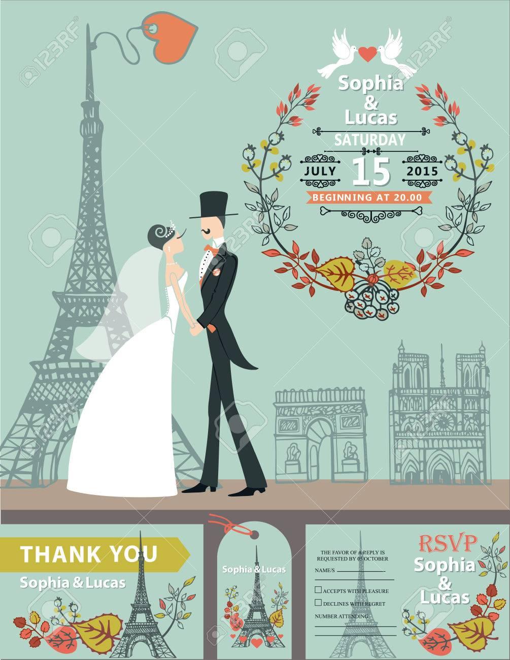 vintage-hochzeit invitation.cartoon flache braut, bräutigam auf retro-kleid  auf pariser straße mit eiffelturm background.autumn verlässt kranz