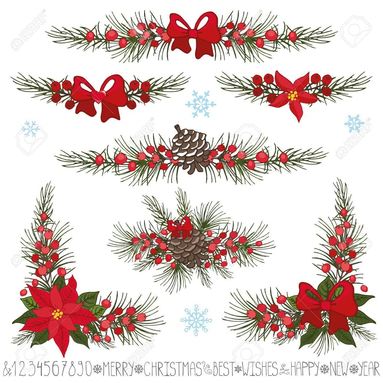 merry christmas new year decor set garland borders and corners