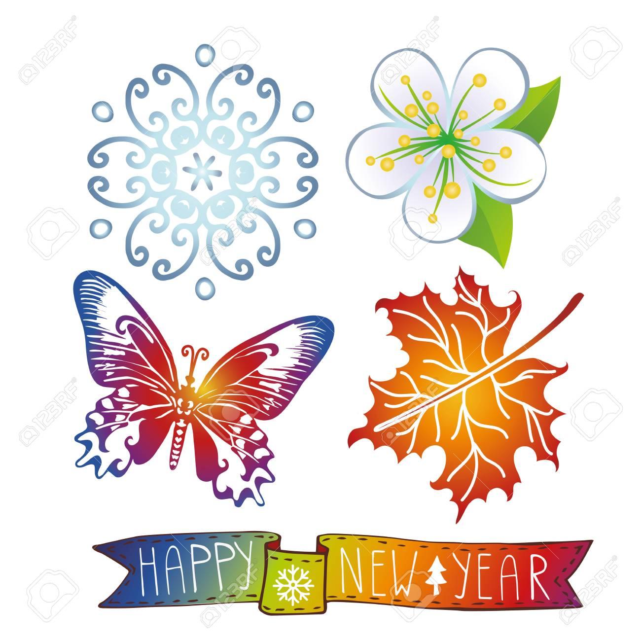 Happy New Year Icons Seteeting Cardinvitationbannermbols