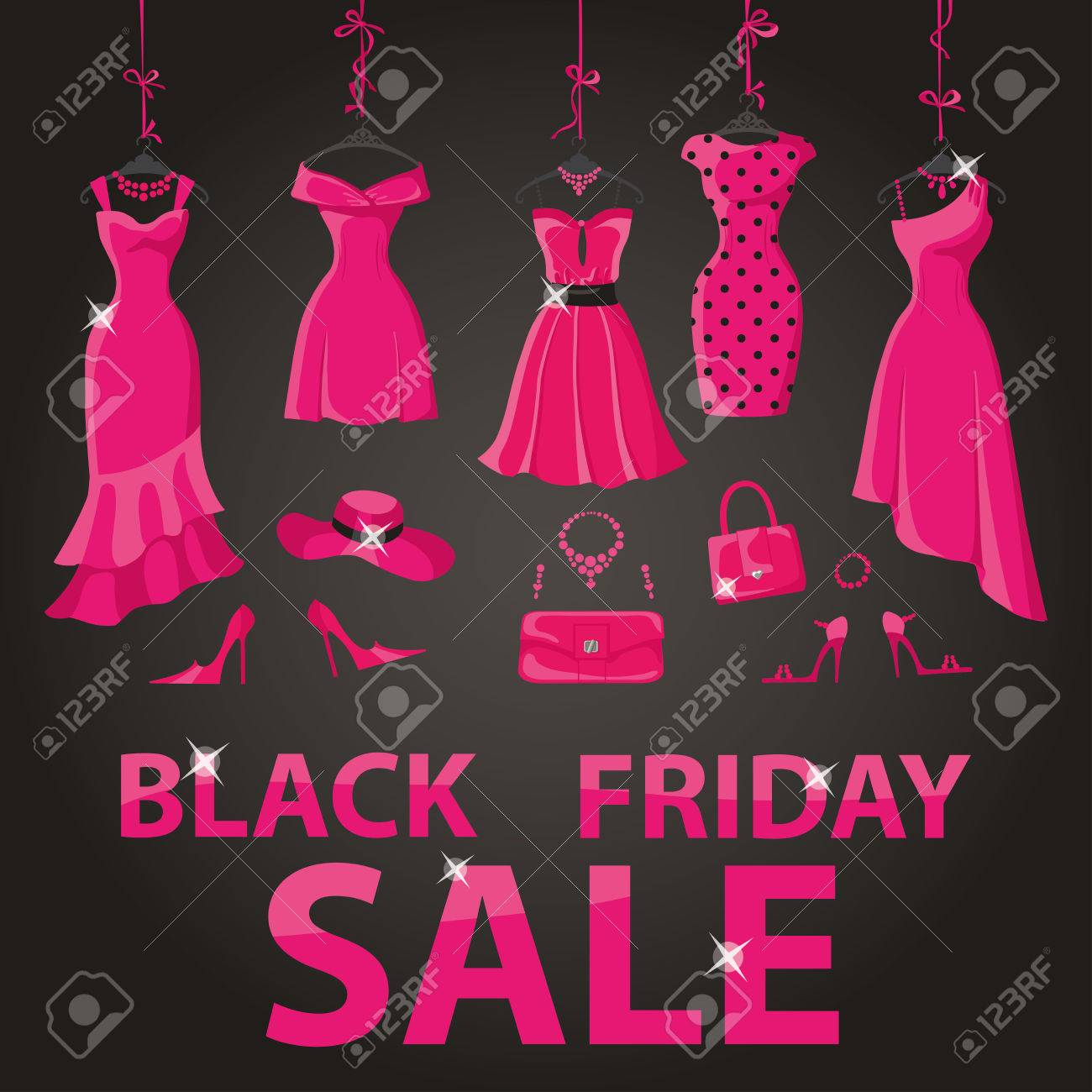 f37a2811cd00 Black friday Big Sale.Pink party dresses hanging on the ribbon with  accessories and title