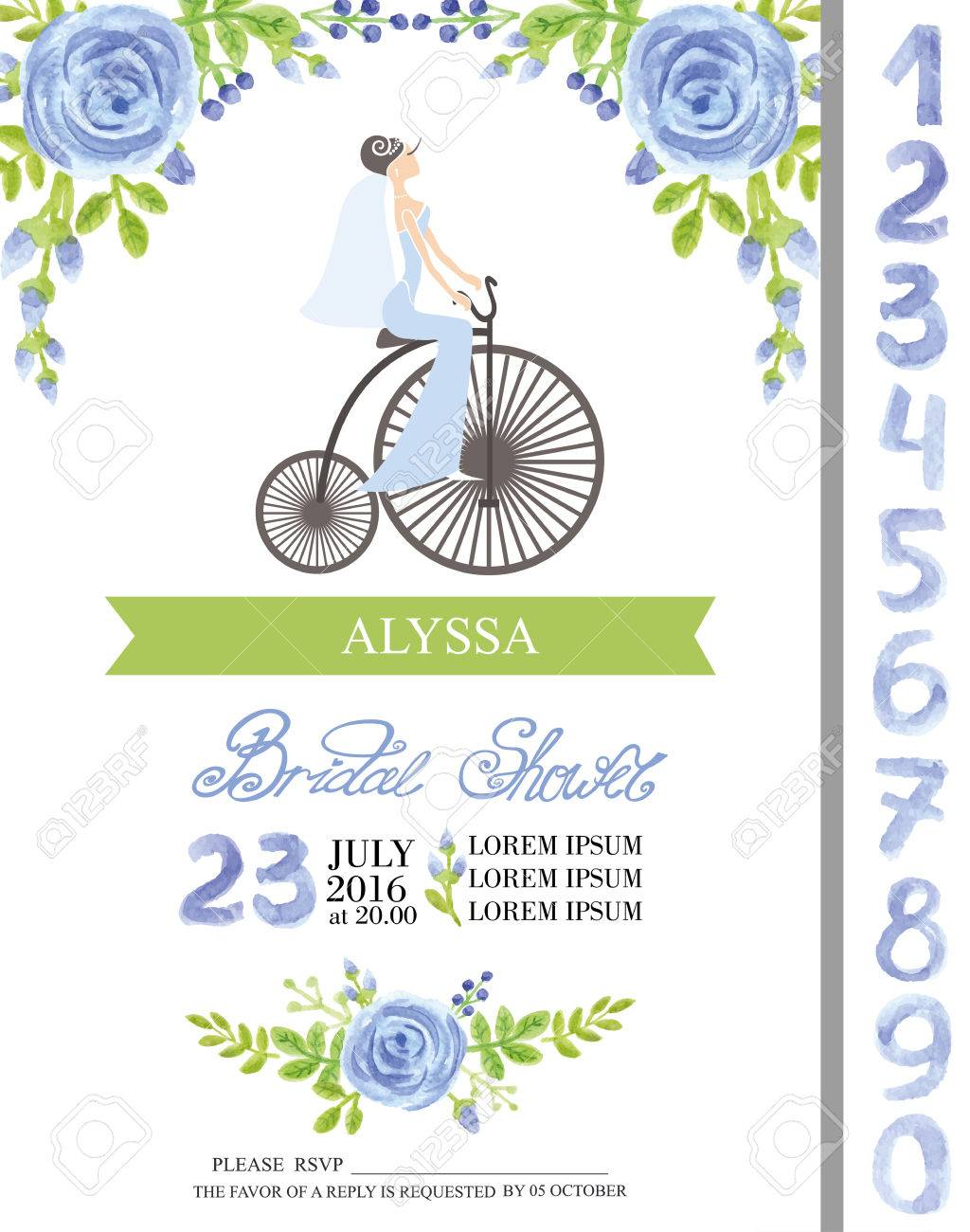 Wedding bridal shower invitation cards with watercolor flowers vector wedding bridal shower invitation cards with watercolor flowers elements cute bride on retro bikenumbers letters cute retro collection with blue filmwisefo