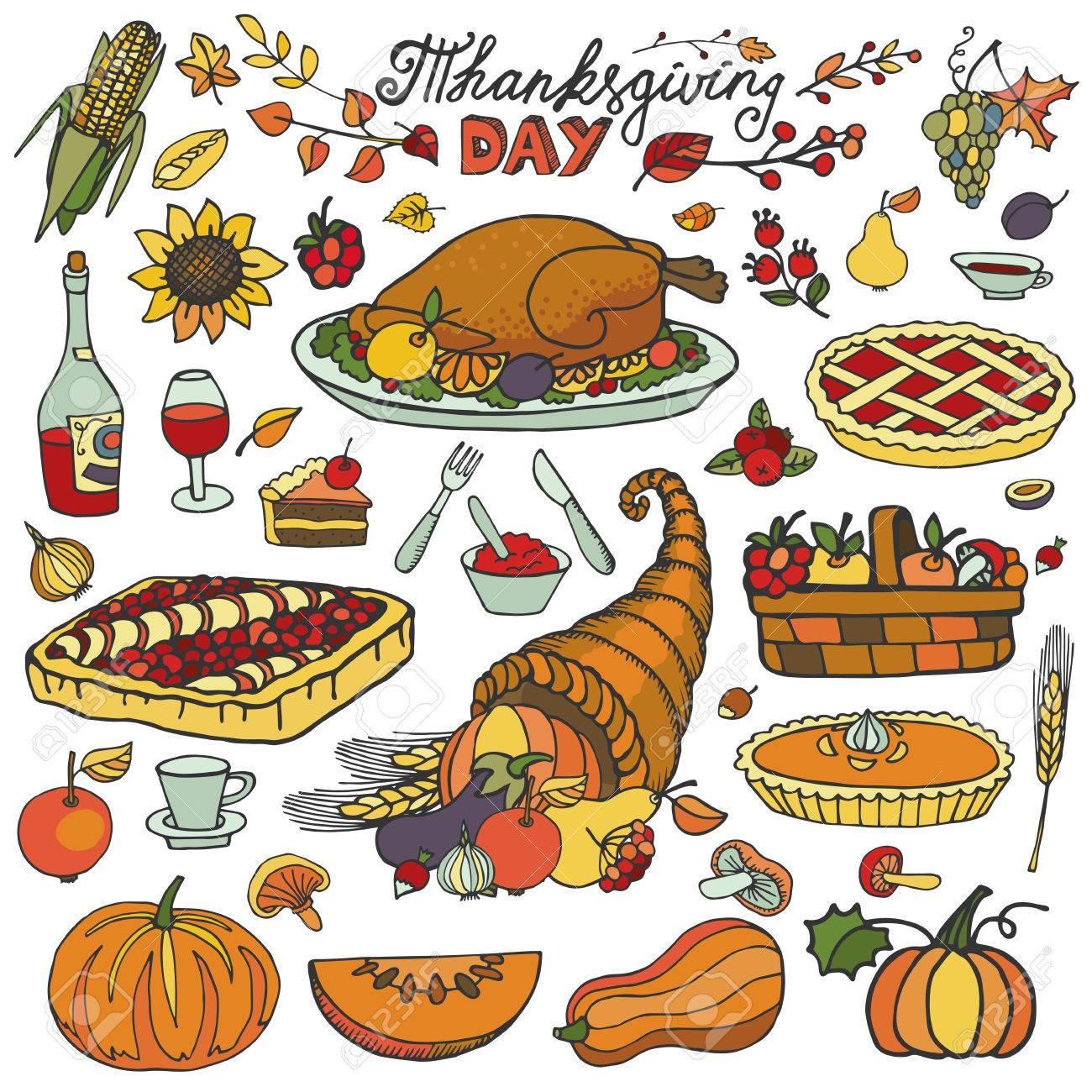 Thanksgiving Day Icons Doodle Food Set Autumn Harvest Decor Elements Hand Royalty Free Cliparts Vectors And Stock Illustration Image 48108796