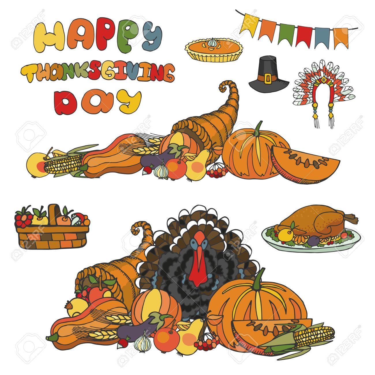 Thanksgiving day doodle set Autumn harvest decor  elements,cornucopia,Turkey,group Watercolor