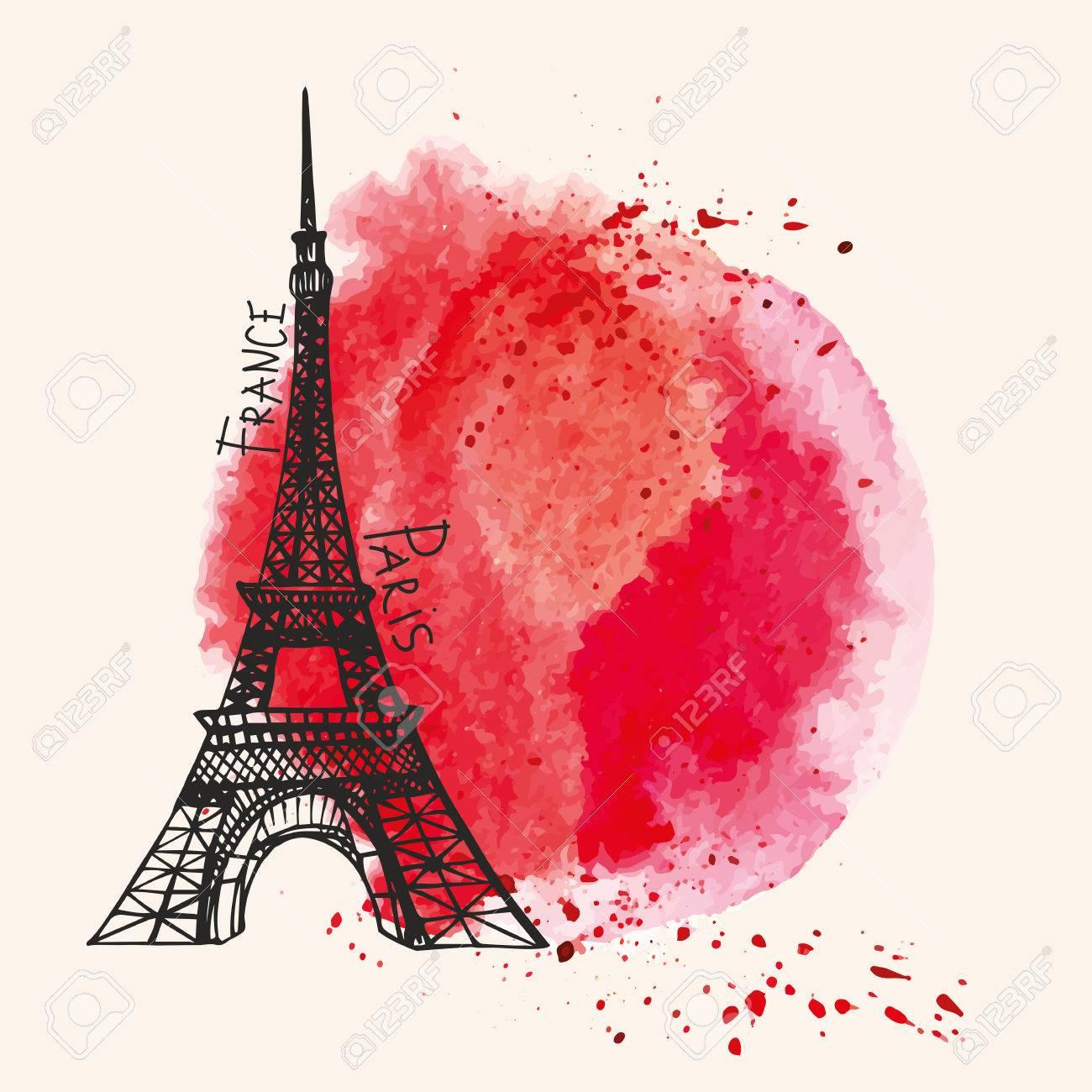 パリ card eiffel タワー 水彩赤 血飛沫 スポット 値下がりしました