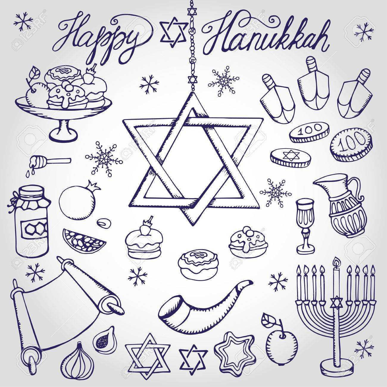 Símbolos De Hanukkah Mano Setdoodle Dibujo Iconos De Fiesta Judío Elementos De Decoración Setswet Menorah Estrella De Davidisrael Vector