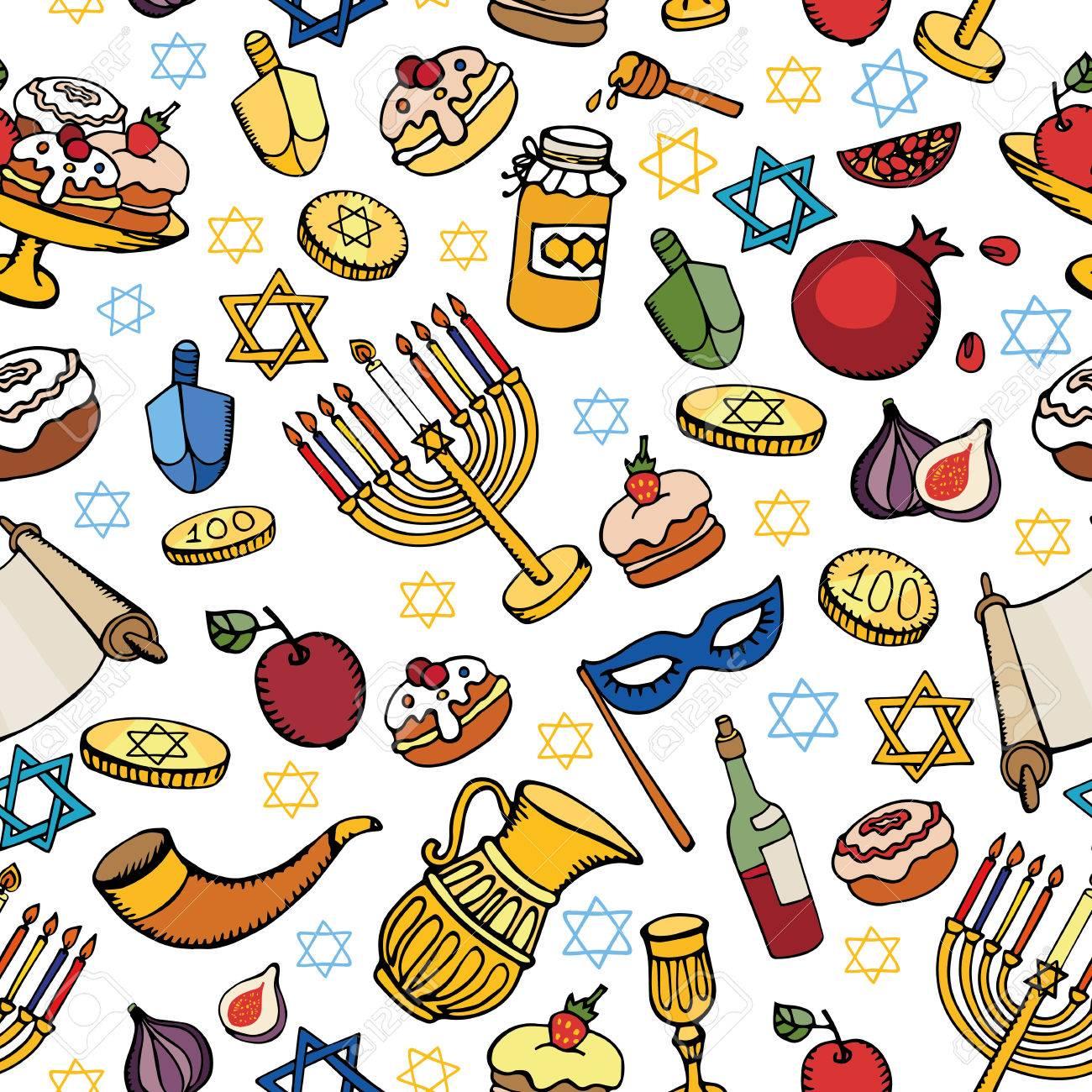 Hanukkah Symbols Seamless Patternodle Hand Drawing Jewish