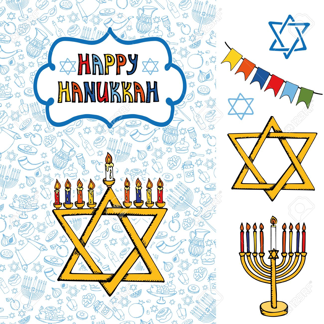 Hanukkah symbols greeting cardodle hand drawing jewish holiday hanukkah symbols greeting cardodle hand drawing jewish holiday patternobjects backgroundsweets biocorpaavc