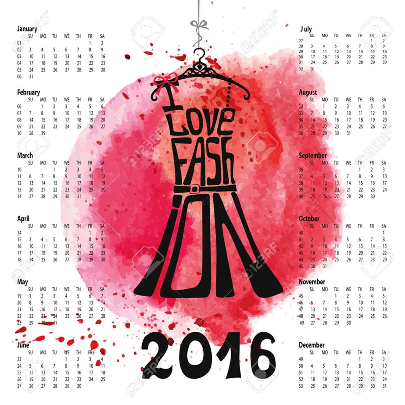 Calendario 2016 Year.Typography Diseño Vestido, Splash.Lettering ...