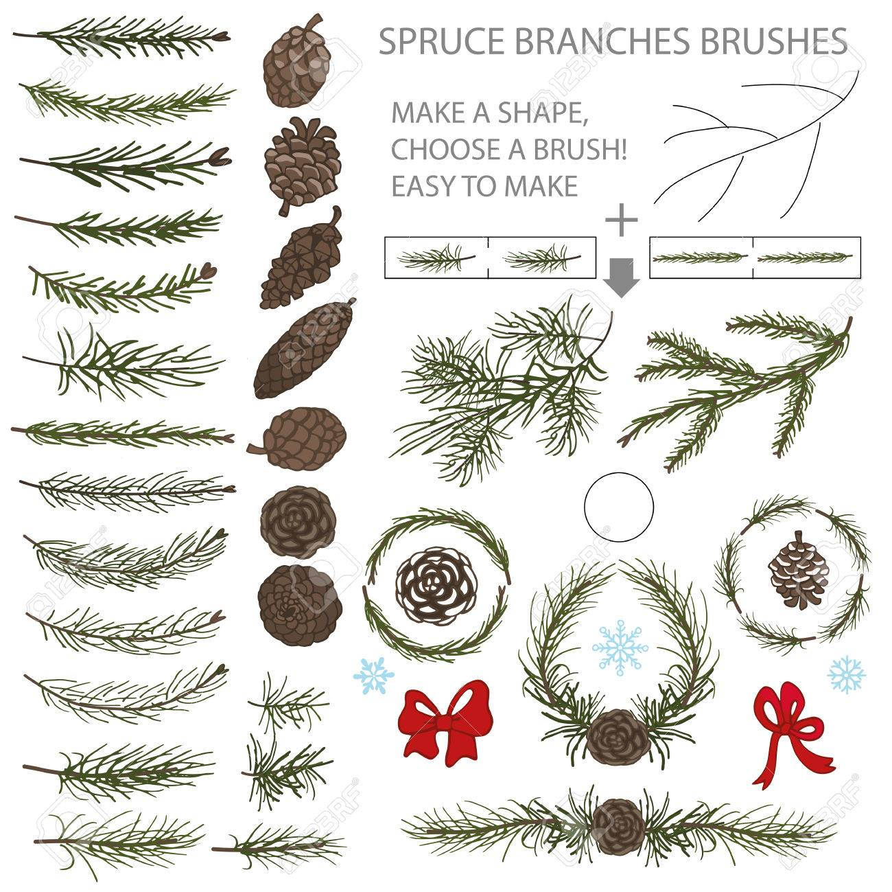 Spruce Green Branches,pine,cones Brushes,wreath,line Borders ...