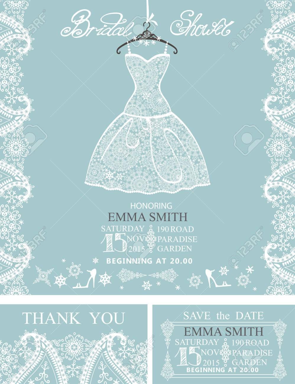 Bridal Shower Invitation Set.Bridal White Dress And Accessories ...
