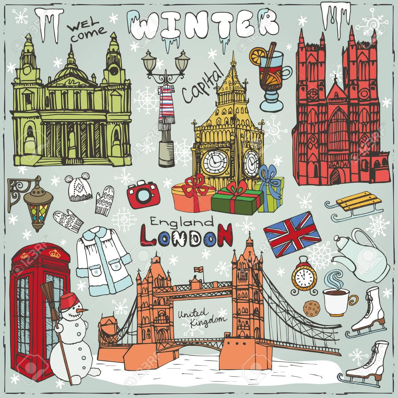 Winter vectorlondon landmark symbolshand drawn doodle sketchy london landmark symbolshand drawn doodle sketchyfamous architectural monuments biocorpaavc