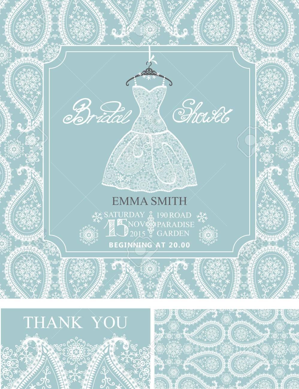 Bridal Shower Invitation Set.Bridal Wedding Dress,paisley Lace ...