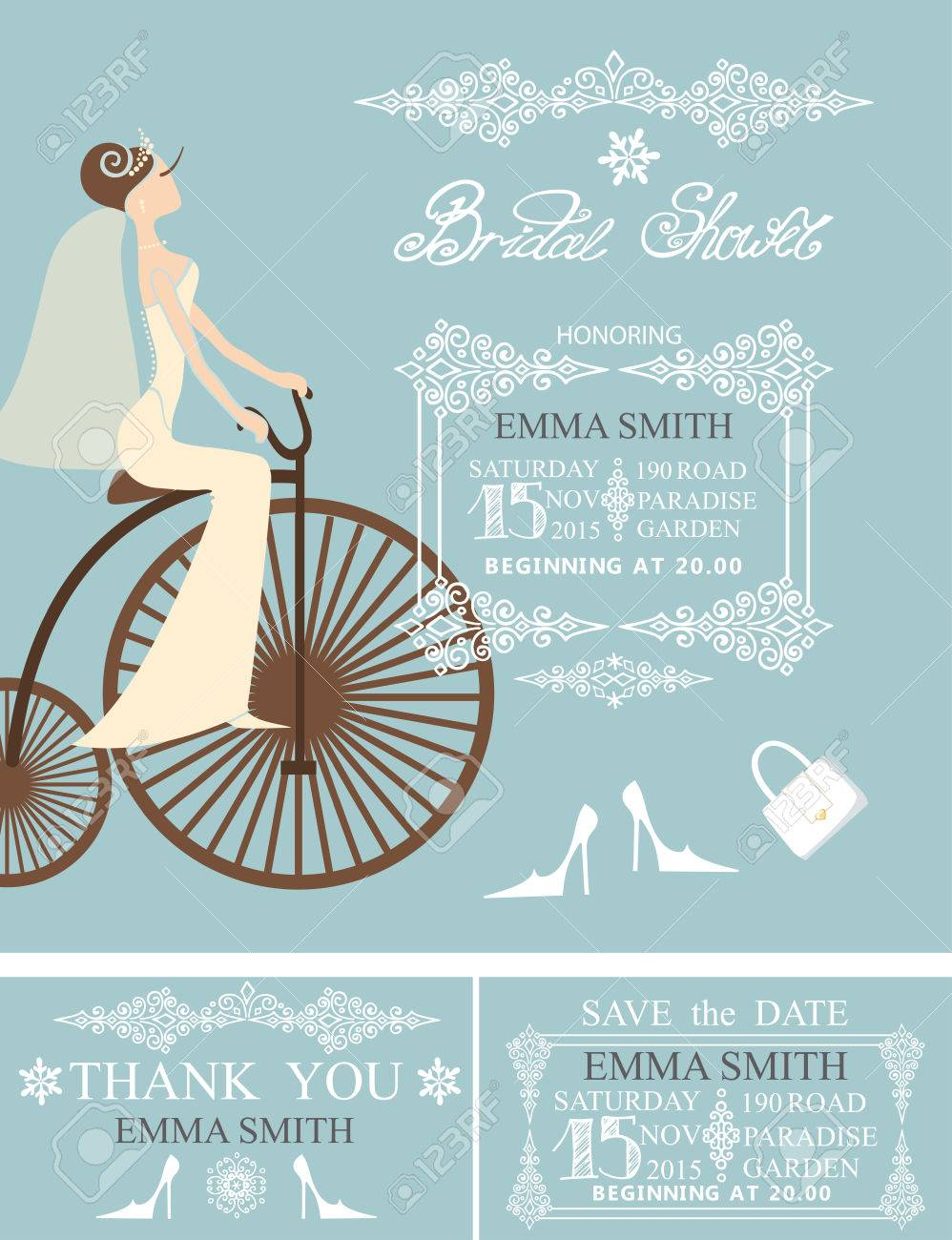 Wedding bridal shower invitation setide in wedding dress on vector wedding bridal shower invitation setide in wedding dress on retro bicycle borderframesletteringretro designwinter season save the date card filmwisefo