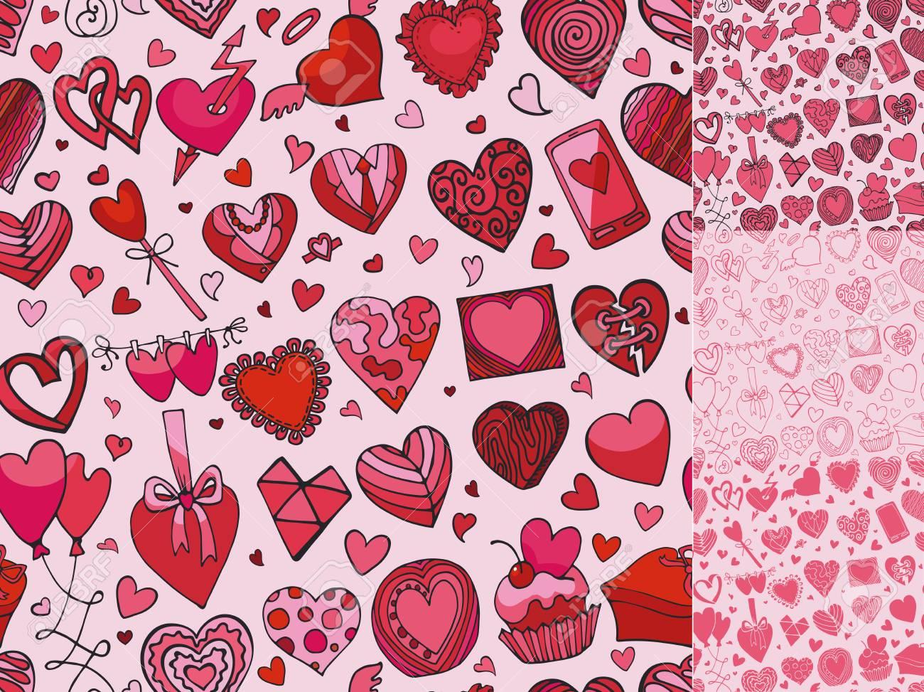 Heart Icons Seamless Patternlentineweddinglove Symbols
