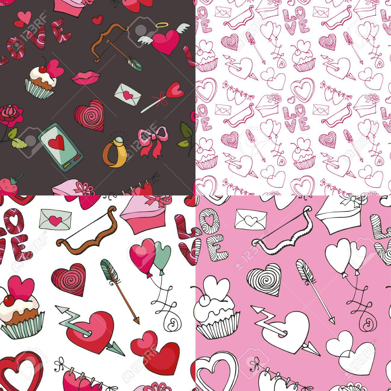 Valentines Day Wedding Love Romantic Decor Elements In Seamless