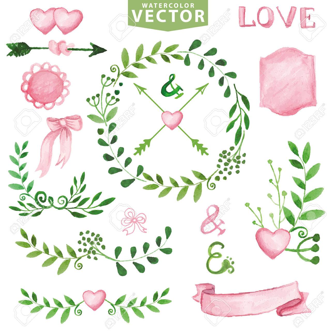 Watercolor Wedding Decor.Green Branches Wreaths And Laurels ,pink ...