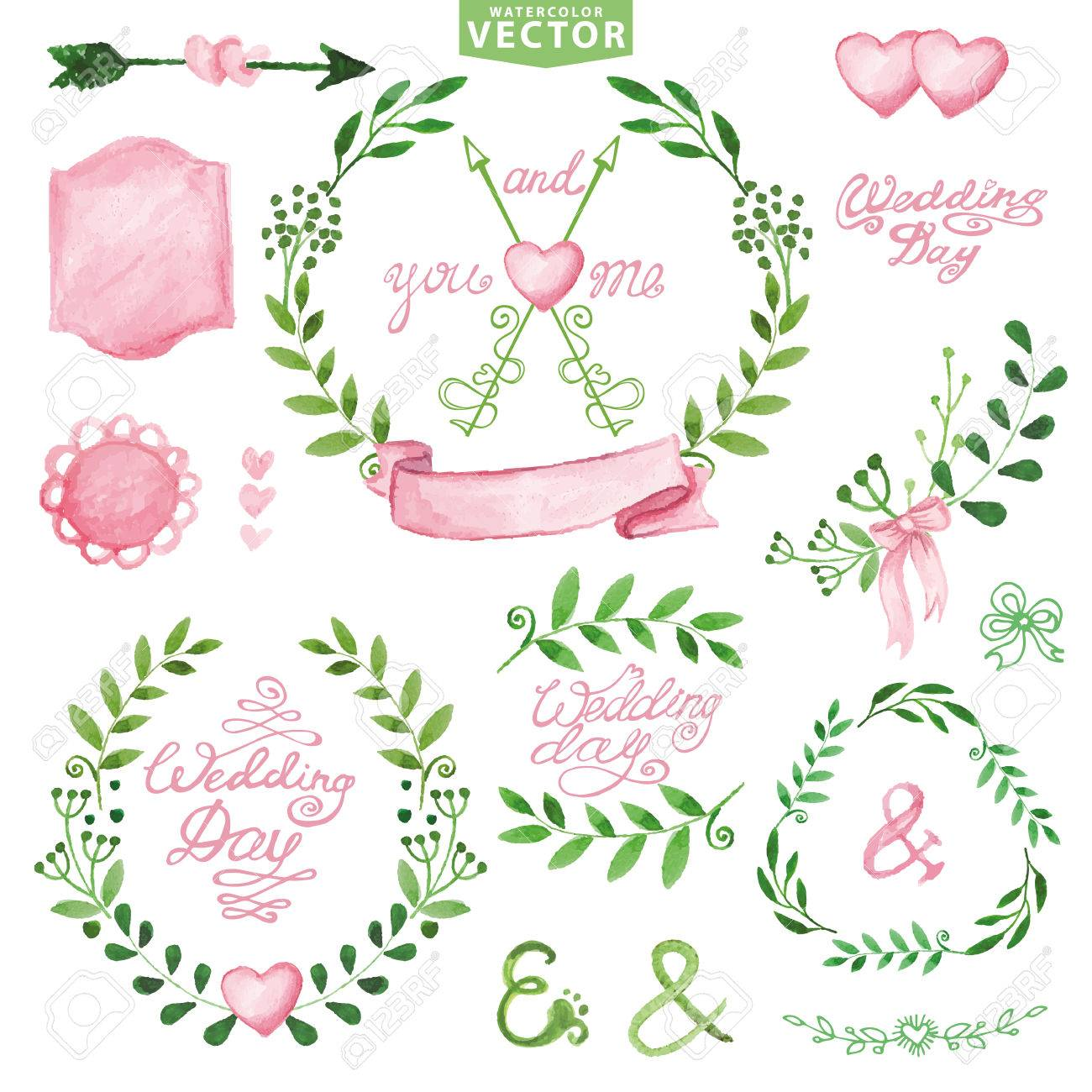 Watercolor wedding decoreen branches wreaths and laurels pink watercolor wedding decoreen branches wreaths and laurels pink decor ribbonsbadges junglespirit Image collections