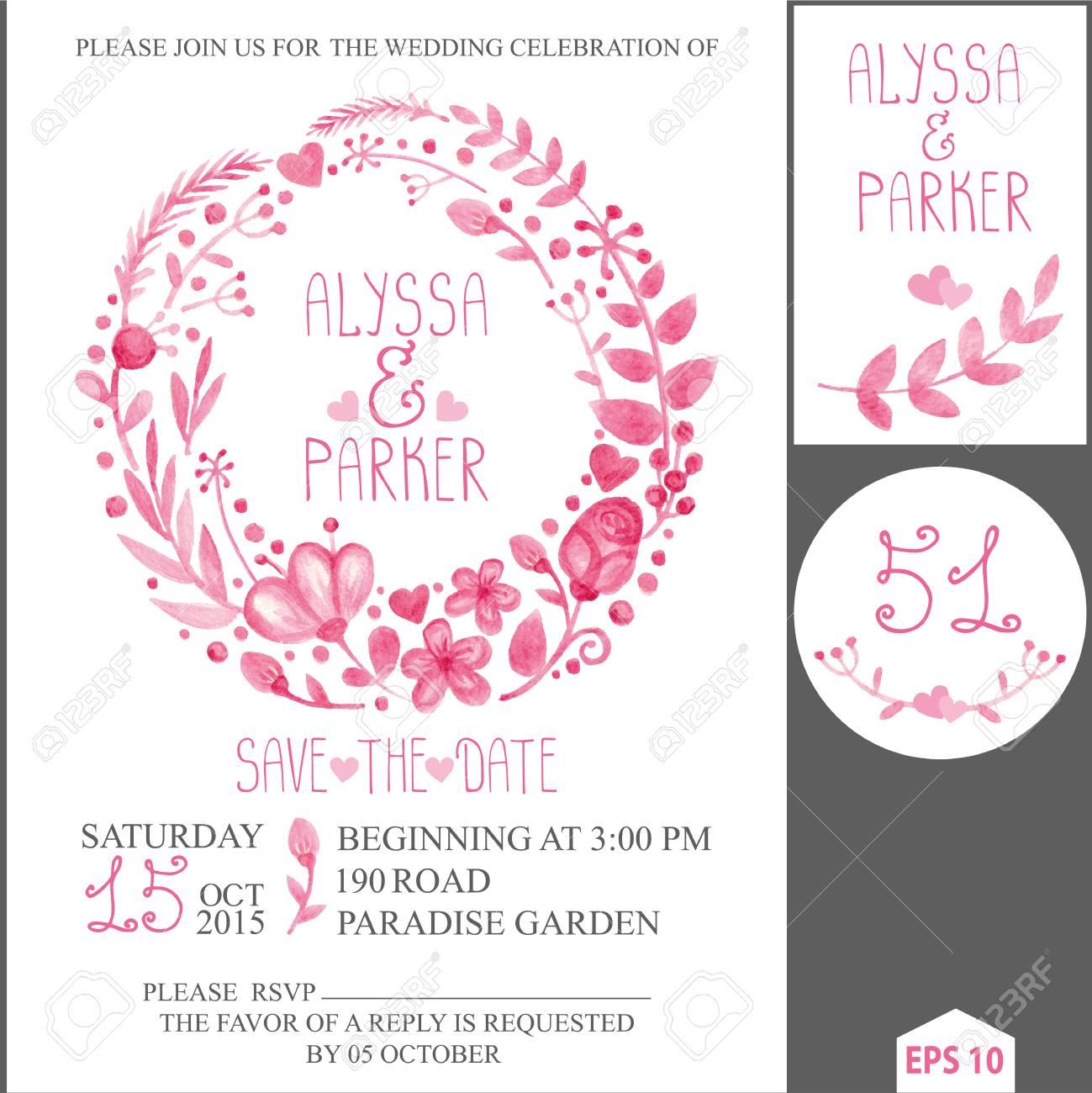 Watercolor.Retro Wedding Design Template.Pink Floral Wreath ...