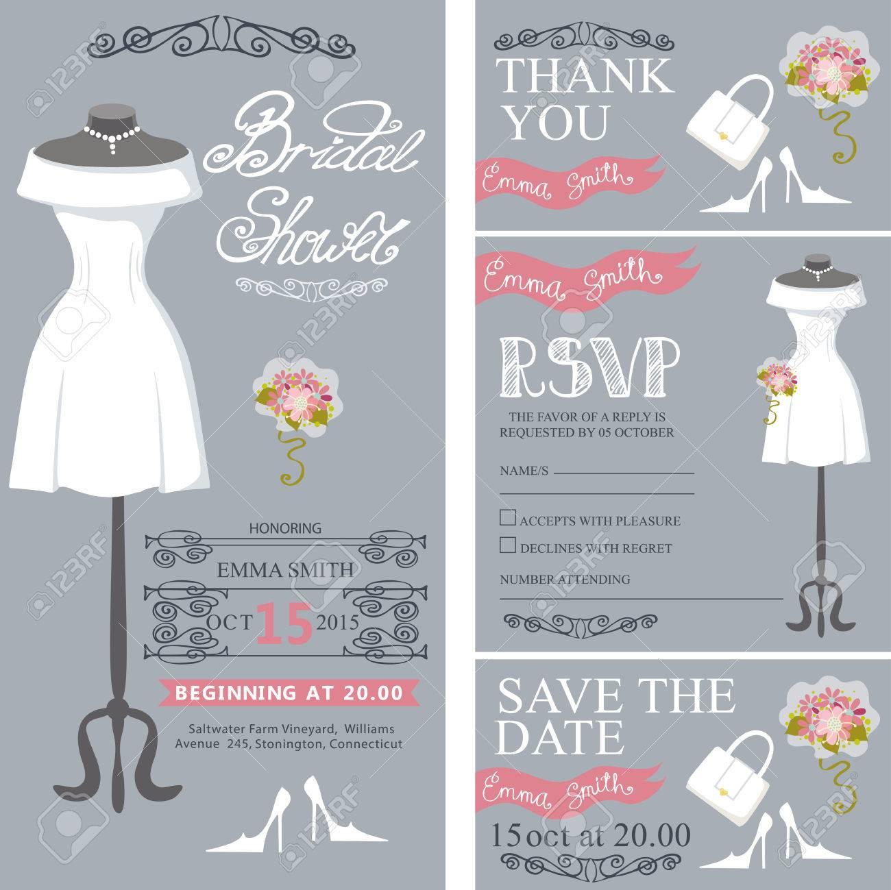 Brautdusche Einladung Set.Bride Brautkleid, Bouquet Wirbelnden ...