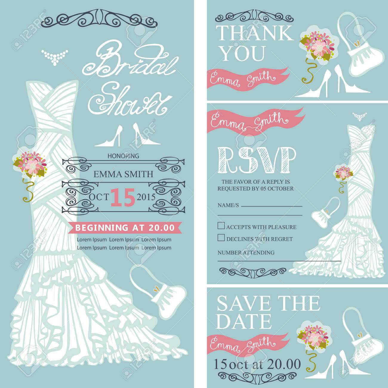 Bridal Shower Invitation Set.Bride Wedding Dress,bouquet Swirling ...