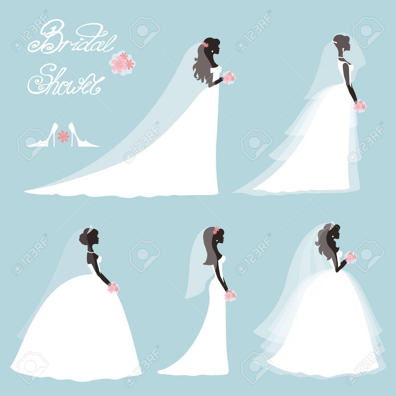 Wedding.Bride in Different dress style.Bridal shower decor set.Cartoon girl,woman silhouette,portrait,Swirling borders, ribbon,icons,label.Invitation Design template kit.Vintage Vector,flat fashion - 53450256