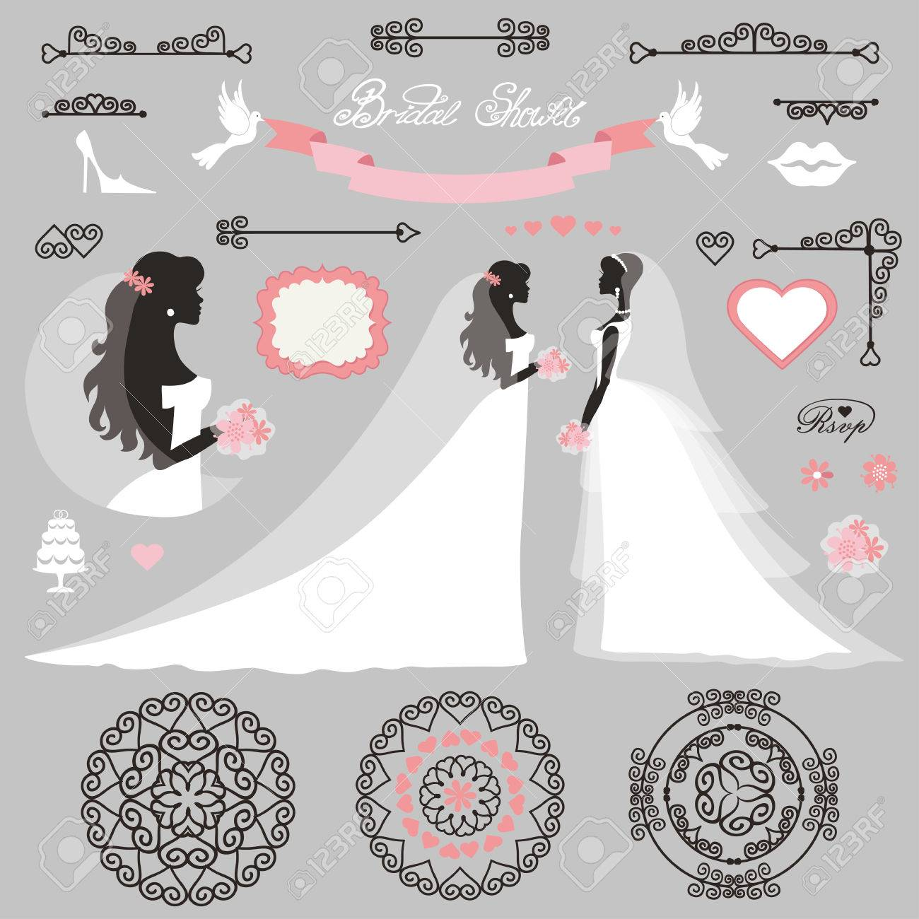 weddingbride in different dress stylebridal shower decor setcartoon woman silhouette