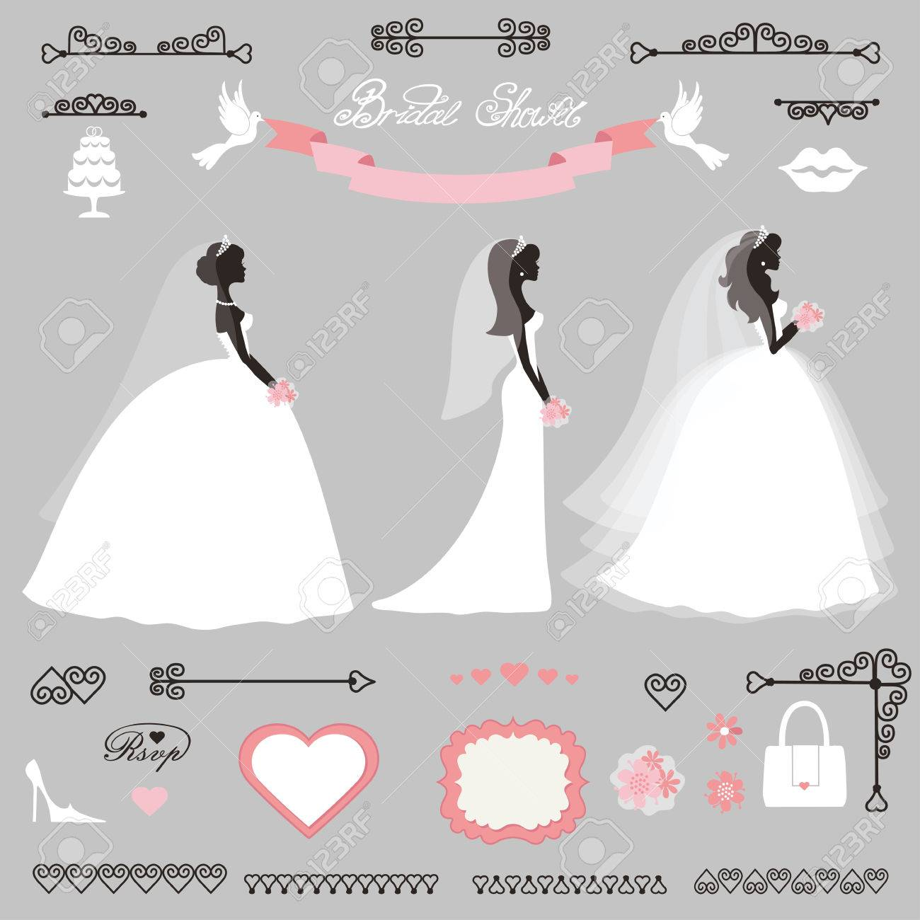 weddingbride in different dress stylebridal shower decor setcartoon girl