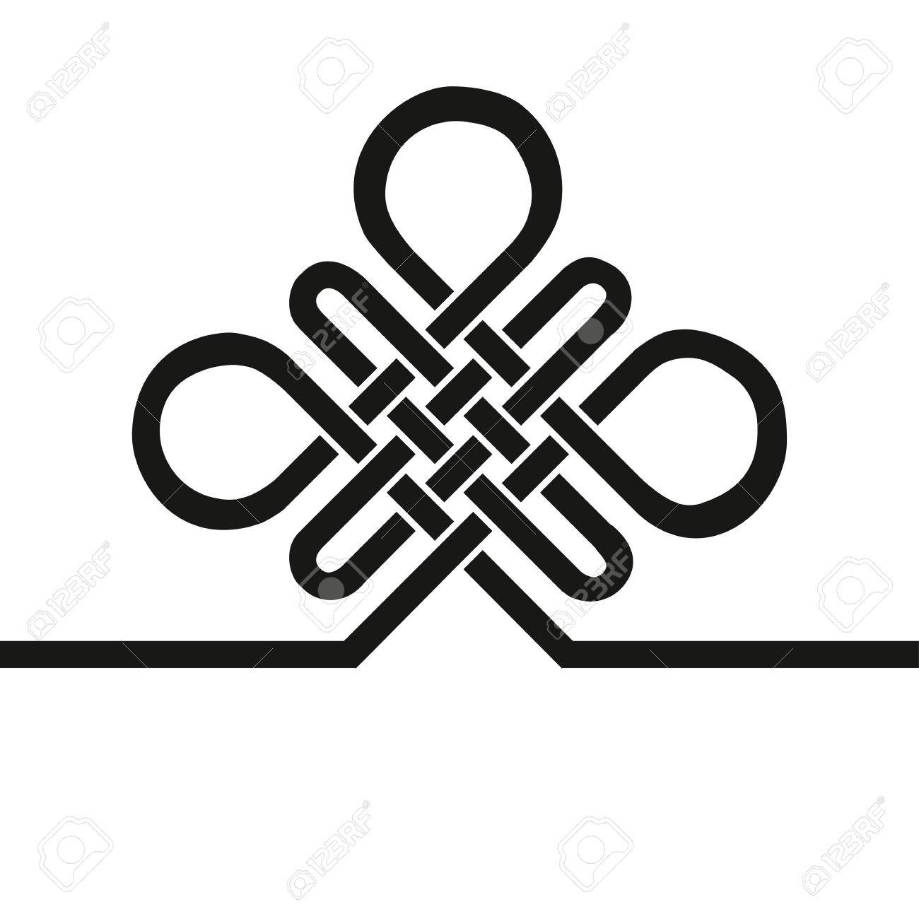 Endless Auspicious knot.China,Tibet Eternal , Buddhism and Spirituality icon,symbol.Vector Black sign,card template .Feng Shui traditional element,geometric ornament. - 53454337